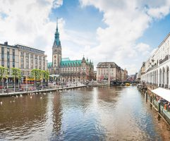Beautiful view of the city center of Hamburg, Germany