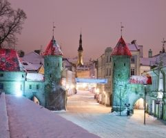 Snowy nightime  old city of Tallinn, Estonia