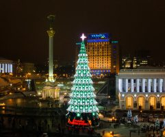 Maidan Nezalezhnosti as seen during Kyiv city illumination project NY 2012/2013 for Lumiere.ua